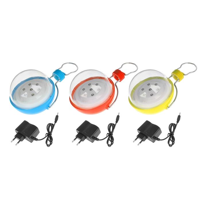 Фонарик аккумуляторный «Лампа» с подвесом, 7 диодов, микс