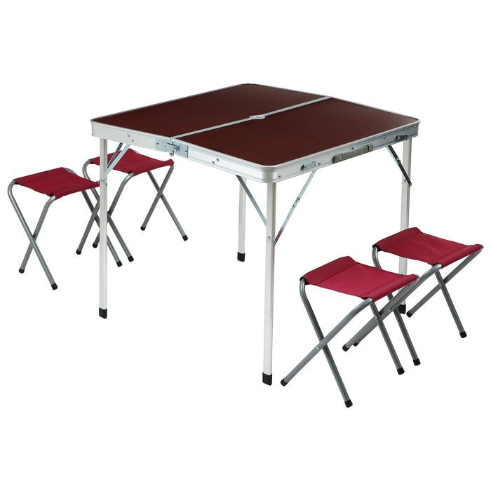 Набор туристический складной: стол, размер 81 х 81 х 70 см, 4 стула, размер 43 х 29 х 25 см - фото 1586448