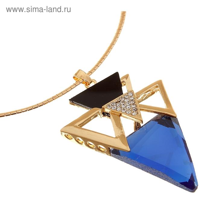 """Кулон на гривне """"Бермудский треугольник"""", цвет сине-черный в золоте, 30см"""