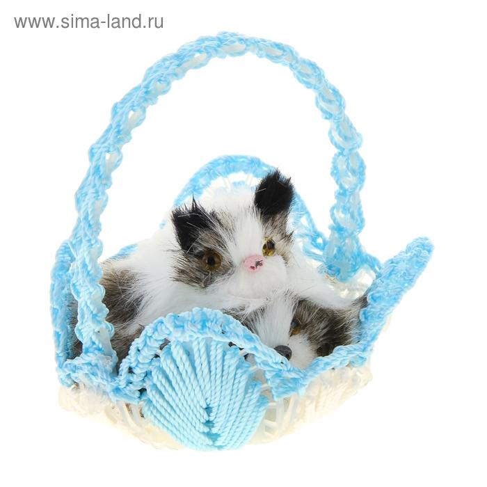 "Пушистик ""Котёнок и щенок в корзинке"", цвета МИКС"