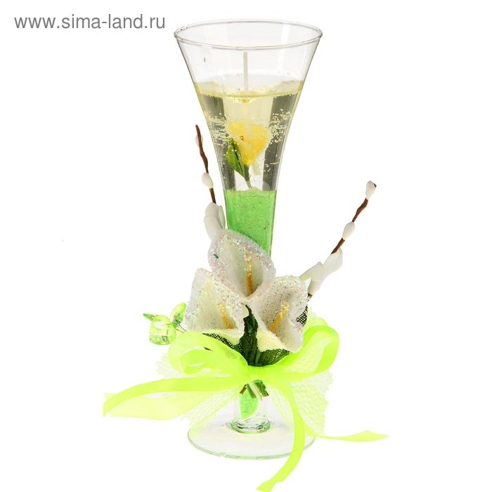 """Свеча гелевая """"Каллы"""", цвет зеленый"""