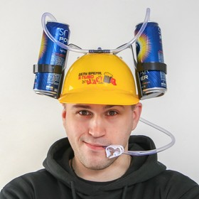 """Helmet with holes for cans """"work, and beer right now"""""""