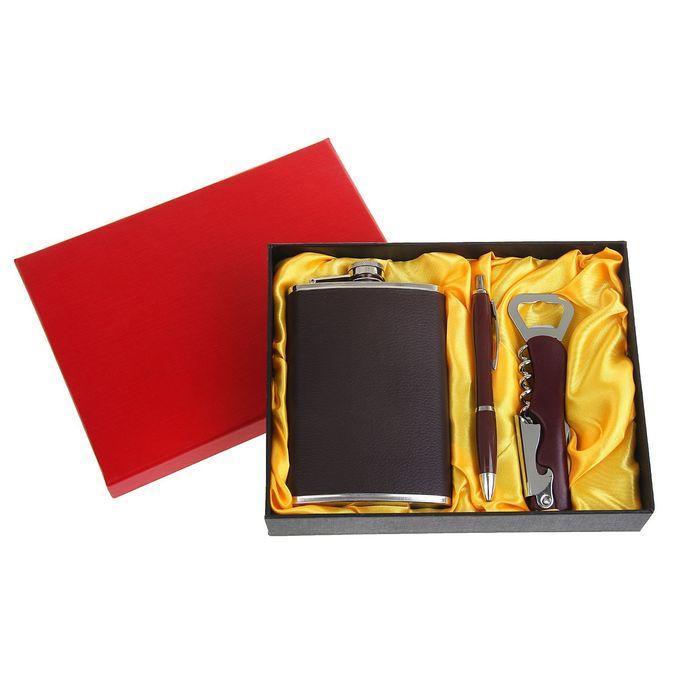 """Подарочный набор 3 в 1 """"Классика"""": фляжка 270 мл + нож-открывалка и ручка"""