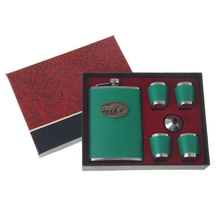"""Подарочный набор 6 в 1 """"Крокодил"""", зелёный: фляжка 270 мл + воронка, 4 рюмки"""