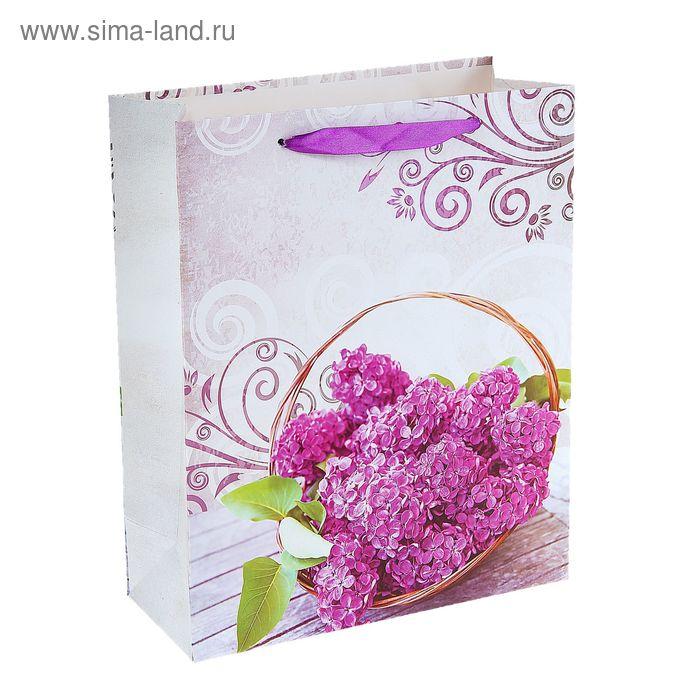 """Пакет ламинированный """"Цветы сирени в корзинке"""""""