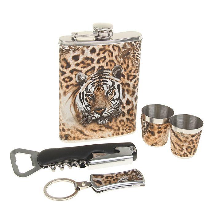 """Подарочный набор 5 в 1 """"Тигр"""": фляжка 240 мл + брелок, 2 рюмки, нож-открывалка 4 в 1"""