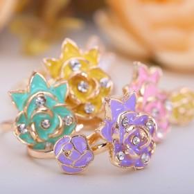 """Кольцо детское """"Розы"""" набор 2 кольца, цвет МИКС, безразмерное"""