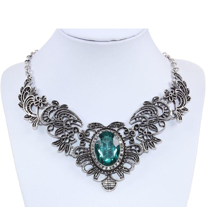 """Колье """"Виктория"""", цвет зелёный в чернёном серебре 45 см"""