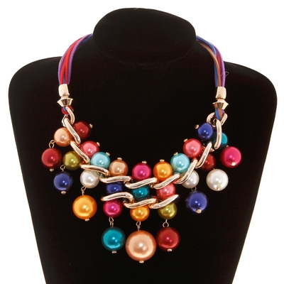 """Колье """"Модный стиль"""", крупное, шарики жемчужинок крупные, цветное"""