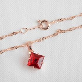 """Гарнитур 3 предмета: серьги, кулон, кольцо безразмерное """"Эдель"""" ромб, цвет бордовый в золоте, 45см - фото 7467447"""