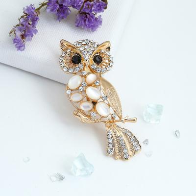"Brooch ""Owl"", white gold"
