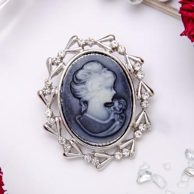 """Брошь """"Камея"""" в лавре, цвет серый в серебре"""