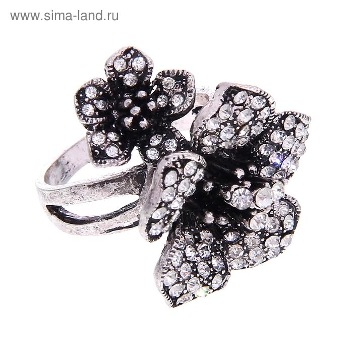 """Кольцо """"Цветы"""", цвет чернёное серебро, размер МИКС"""