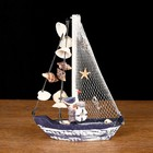 Yacht souvenir small bead of blue-white, a sail mesh with shells, 14 × 3,5 × 18.5 cm