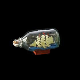 Корабль сувенирный в бутылке с белыми парусами в полоску Ош