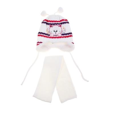 """Комплект детский зимний """"Котик"""": шапка, шарф, объем головы 46-48см (1-2года), цвет микс"""