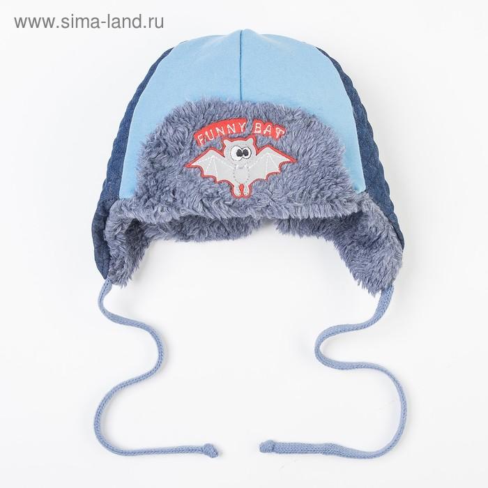 Шапка дет.зимняя Летучая мышь, объем головы 42-44см (3-6мес) МИКС