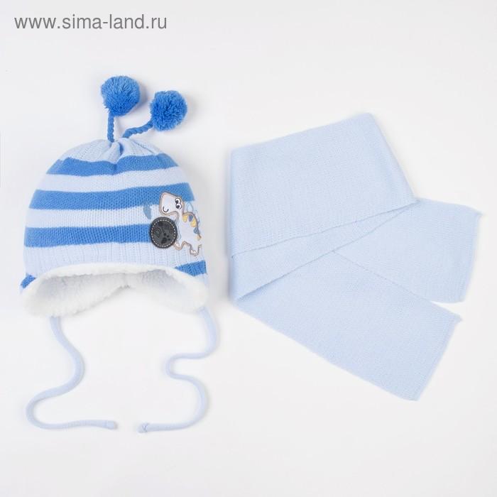 """Комплект детский зимний """"Дино"""": шапка, шарф, объем головы 42-44см (3-6мес.), цвет микс"""