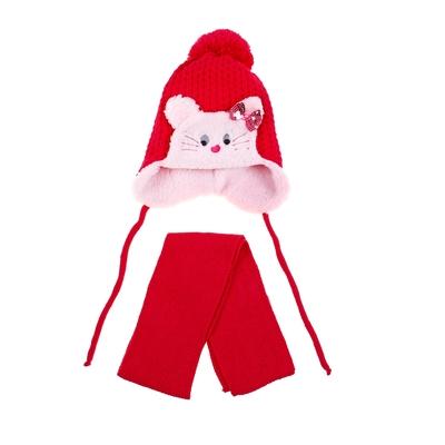 Комплект детский зимний: шапка с завязками, шарф, объем головы 46-48см (1-2года), цвет микс