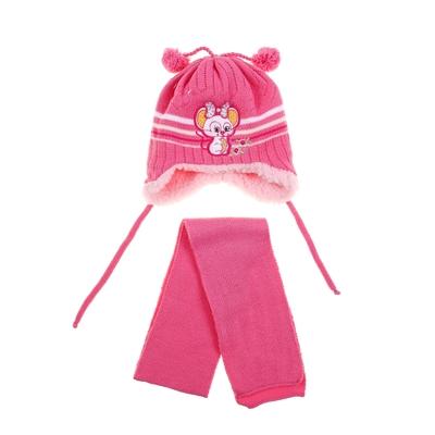"""Комплект детский зимний """"Мышка"""": шапка, шарф, объем головы 42-44см (3-6мес.), цвет микс"""