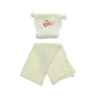 Комплект дет.зимний Медвежата:шапка, шарф, объем головы 42-44см (3-6мес) МИКС