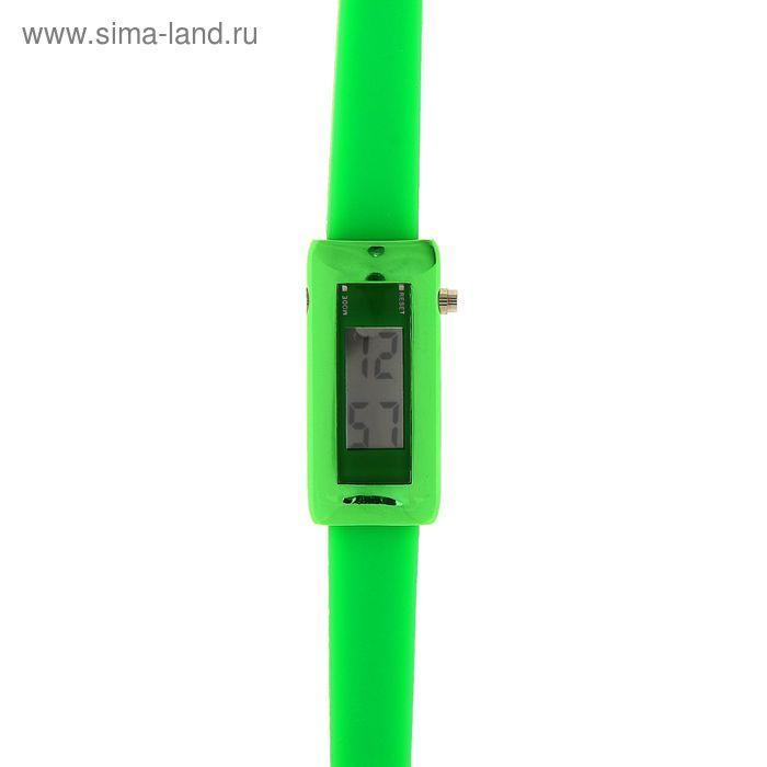 Часы наручные женские на силиконовом тонком ремешке, цвет зеленый