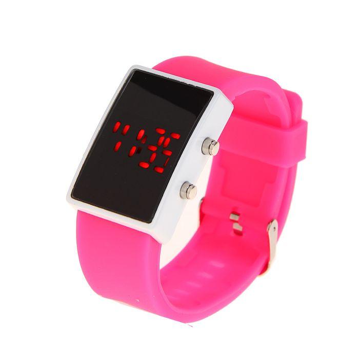 9e7b7f06 Часы наручные женские, электронные с силиконовым ремешком, прямоугольные,  розовые 3х23 см