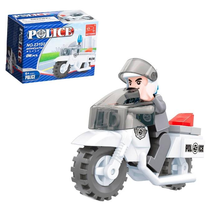 """Конструктор Патруль """"Полицейский мотоцикл"""", 26 деталей"""