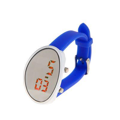 Часы наручные женские, электронные с силиконовым ремешком, циферблат овал, синие 3х22 см