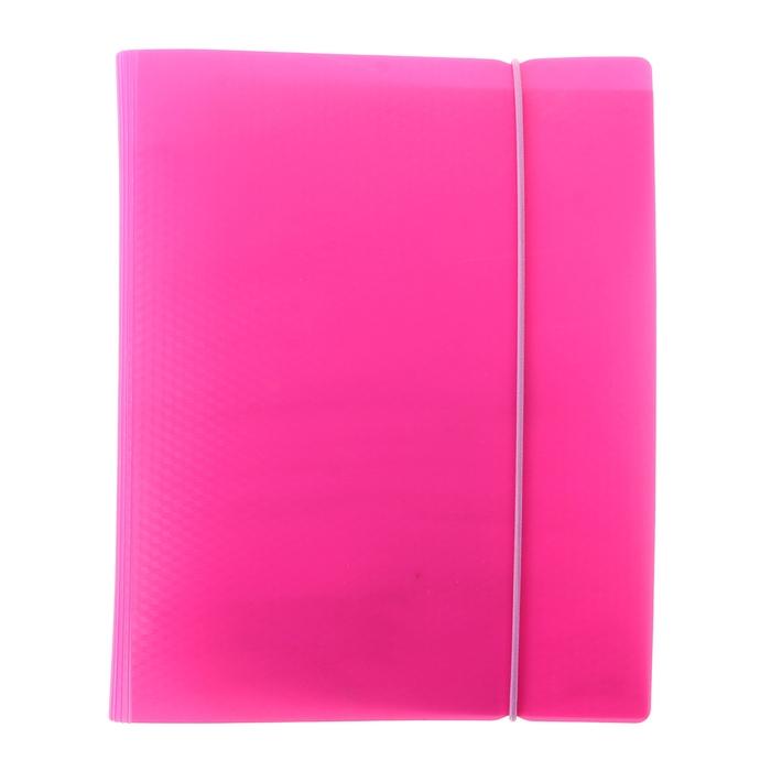 Тетрадь на кольцах А5, 120 листов клетка DIAMOND НЕОН-розовая, пластиковая обложка на резинке