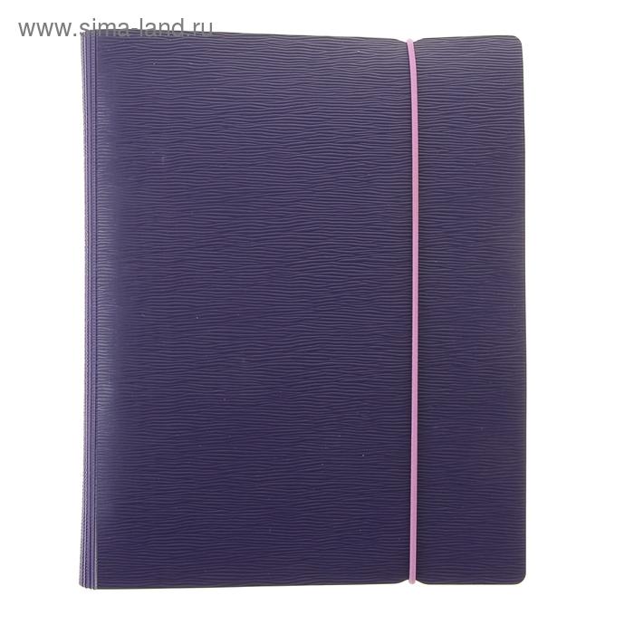 Тетрадь на кольцах А5, 120 листов клетка WOOD Фиолетовая, пластиковая обложка на резинке