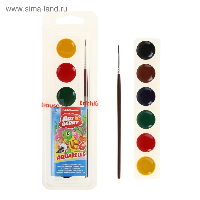 Акварель медовая 6цв Artberry, с кистью, мягкий пластик, EK 37022