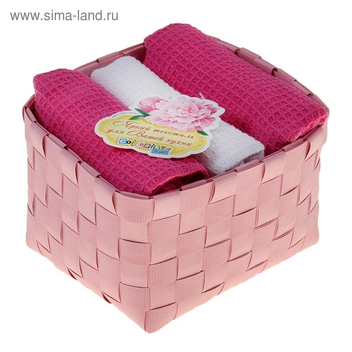 """Наб. вафельных полотенец """"Collorista"""" Pink white, 38х63см - 3 шт, хлопок"""
