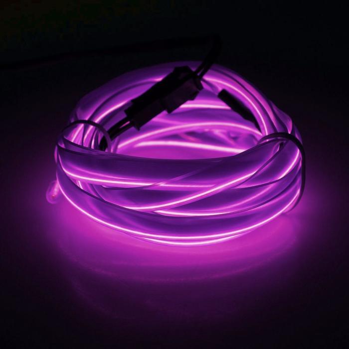 Неоновая нить для подсветки салона, плоская, 12 В, 2 м, с источником питания, фиолетовая