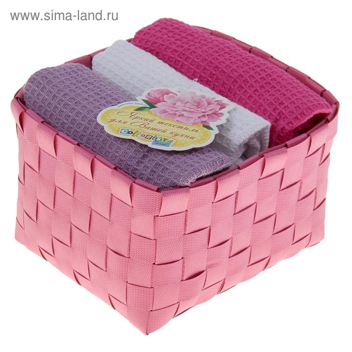 """Наб. вафельных полотенец """"Collorista"""" Pink violet, 38х63см - 3 шт, хлопок"""