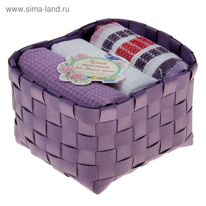 """Наб. вафельных полотенец """"Collorista"""" Violet, 38х63см - 3 шт, хлопок"""
