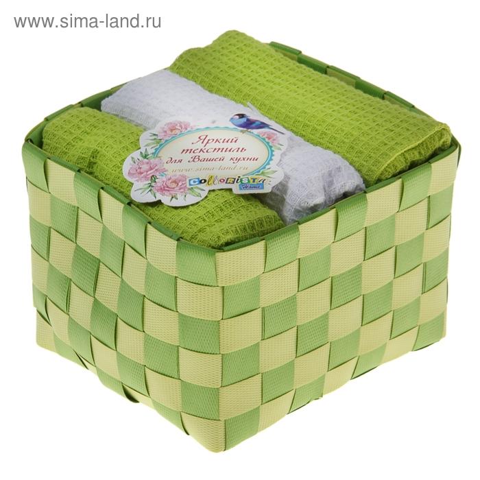 "Наб. вафельных полотенец ""Collorista"" Green white, 38х63см - 3 шт, хлопок"