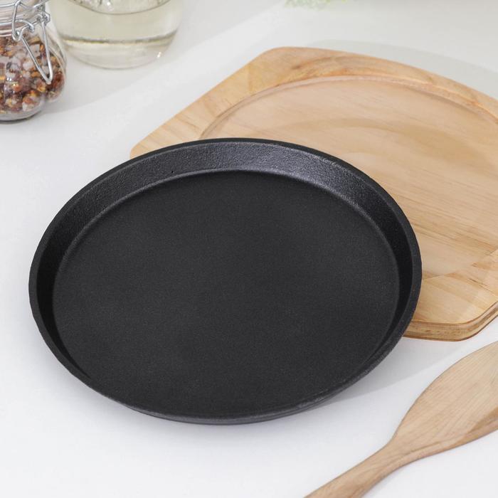 """Сковорода 19 см """"Круг"""", на деревянной подставке"""