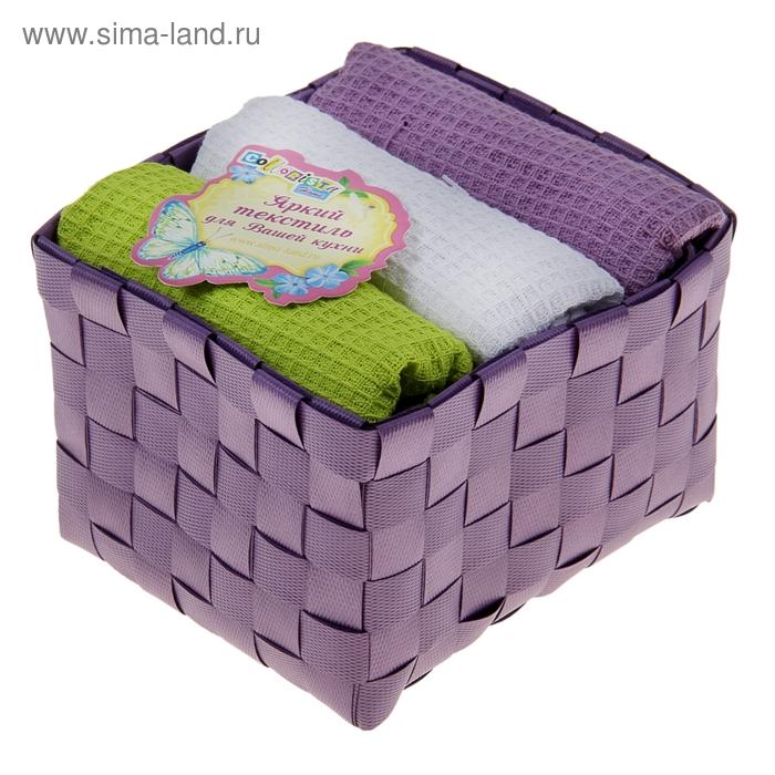 """Наб. вафельных полотенец """"Collorista"""" Violet green, 38х63см - 3 шт, хлопок"""