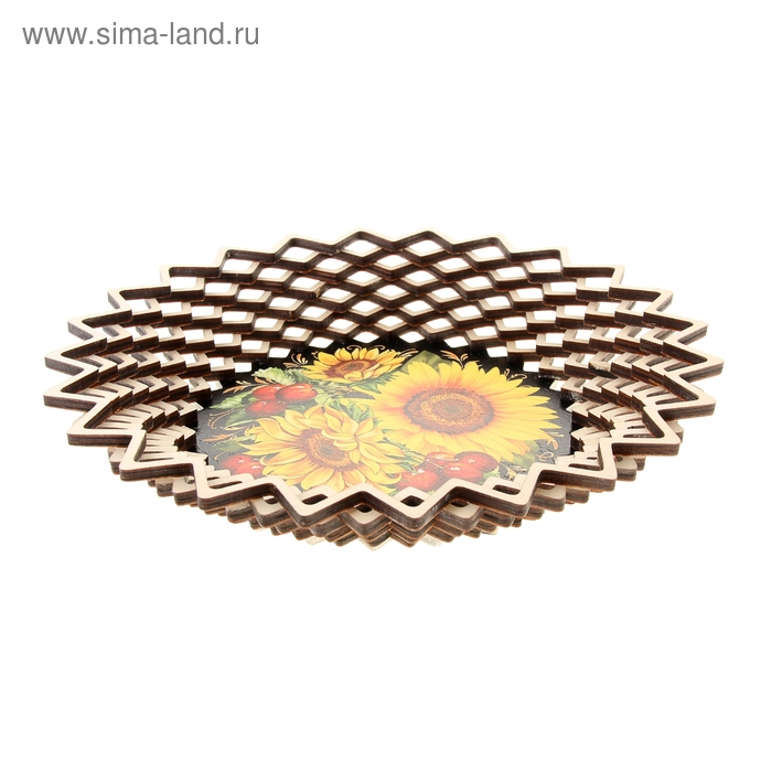 Хлебница «Подсолнухи с вишней», 24х24 см