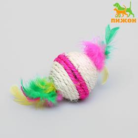Sisal ball with feather Lollipop, 5 cm