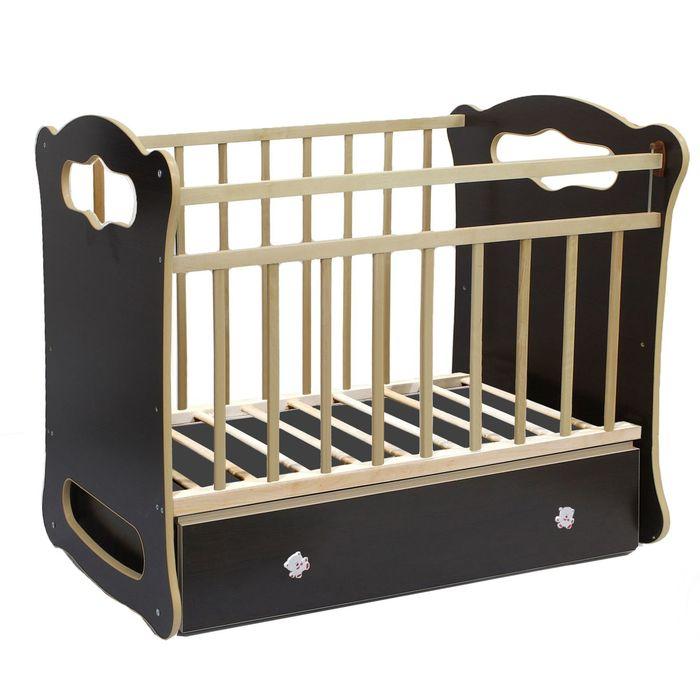 Детская кроватка Bianca на маятнике, с ящиком, цвет венге-берёза - фото 1586865