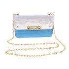 """Клатч женский """"Элоиза"""", 1 отдел с перегородкой, отдел для кредиток, наружный карман, цепочка, цвет голубой"""