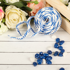 Ribbon decorative woven, color blue with white