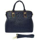 """Сумка женская """"Рептилия"""", 1 отдел с перегородкой, наружный карман, длинный ремень, синяя"""
