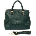 """Сумка женская """"Рептилия"""", 1 отдел с перегородкой, наружный карман, длинный ремень, зеленая"""
