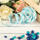Decorative woven tape, color turquoise with white