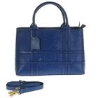 """Сумка женская """"Змея"""", 2 отдела, наружный карман, длинный ремень, синия"""