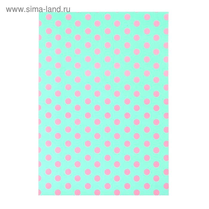"""Бумага для творчества """"Розовый горох на зелёном"""" А4 плотность 80 гр"""