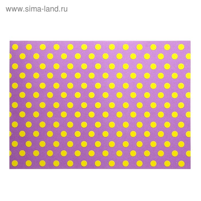 """Бумага для творчества """"Желтый горох на фиолетовом"""" А4 плотность 80 гр"""